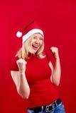 Christmas woman having fun Royalty Free Stock Photos