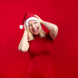 Christmas woman having fun Royalty Free Stock Photo