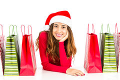 Christmas woman with her shopping bags Royalty Free Stock Photography