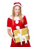 Christmas woman hold with big gift box Stock Photo