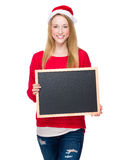 Christmas woman hold with blackboard Stock Photography