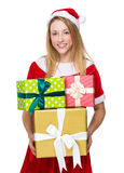 Christmas woman hold with group of giftbox Stock Photography