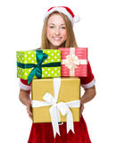 Christmas woman hold with lots of giftbox Royalty Free Stock Photo