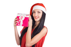 Christmas woman hold surpise Royalty Free Stock Photos