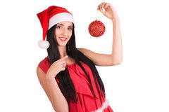 Christmas woman hold toy Stock Image