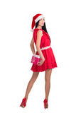 Christmas woman hold toy behind Stock Photography