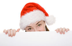 Christmas woman holding board Royalty Free Stock Photo