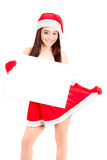 Christmas woman holding empty sign Stock Photos
