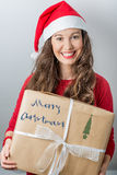 Christmas woman holding gifts. Christmas Santa hat  woman portrait hold christmas gift. Smiling happy girl Stock Images