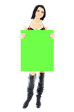 Christmas woman holding green blank banner Royalty Free Stock Photo