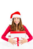 Christmas woman holding her gift boxes Stock Photos