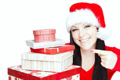 Christmas woman holding presents over white Royalty Free Stock Image