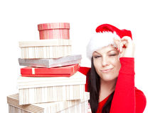 Christmas woman holding presents  over white Royalty Free Stock Photos