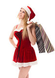 Christmas woman holding a shopping bag Stock Photo