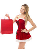 Christmas woman holding a shopping bag Stock Images