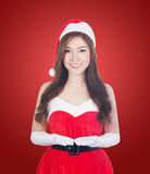 Christmas woman holding Something smiling Royalty Free Stock Photography