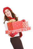 Christmas: Woman Holding Stack of Wrapped Gifts Royalty Free Stock Photos