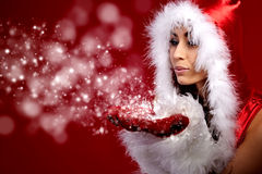 christmas woman holding star Royalty Free Stock Image