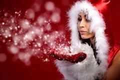 christmas woman holding star Royalty Free Stock Image
