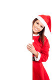 Christmas woman holding a white banner Stock Photos