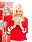 Christmas: Woman Holds Fanned Out Cash For Christmas Royalty Free Stock Images
