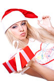 Christmas woman with holiday gift Royalty Free Stock Image