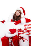Christmas woman isolated over white  background Stock Photos