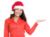 Christmas woman isolated showing copy space Stock Photography