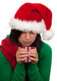 Christmas woman keeping red cup Royalty Free Stock Photo