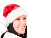 Christmas woman looking at copyspace over white Stock Photography