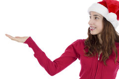 Christmas woman looking to copy space product space Royalty Free Stock Photography