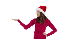 Christmas woman looking to copy space Stock Photos