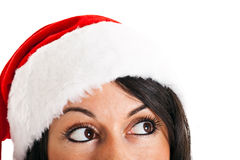 Christmas woman looking up Stock Image