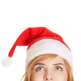 Christmas woman looking up. Isolated on white Stock Photos