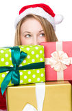 Christmas woman with lots of gift box Royalty Free Stock Photography