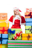 Christmas woman and many presents Royalty Free Stock Images