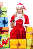 Christmas woman with mobile phone Stock Photo