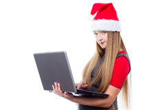 Christmas woman with notebook Royalty Free Stock Image
