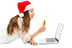 Christmas woman online shopping with credit card Stock Photography