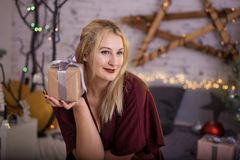 Christmas Woman Open Present Gift Box In Xmas Room, Holiday Tree Royalty Free Stock Image