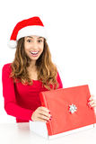 Christmas woman opening gift box Royalty Free Stock Photos