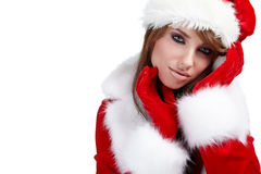 Christmas Woman over white Stock Photos