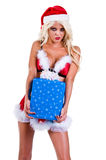 Christmas  Woman With Package Royalty Free Stock Images