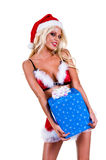 Christmas  Woman With Package Stock Photos