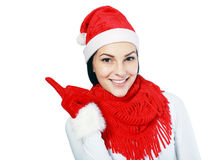 Christmas woman points Stock Photo