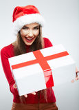 Christmas  woman portrait hold christmas gift. Royalty Free Stock Images