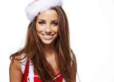 Christmas  woman portrait hold christmas gift. Royalty Free Stock Photo