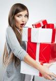 Christmas  woman portrait hold christmas gift. Stock Image