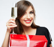 Christmas  woman portrait hold wine glass. Stock Photography