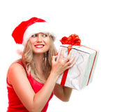 Christmas woman portrait .isolate Royalty Free Stock Images